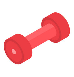 Red dumbbell icon isometric style vector