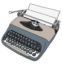 retro gray portable typewriter vector image