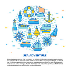 sea adventure round concept banner with ship icons vector image