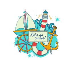 sea voyage vacation on a cruise travel in the vector image