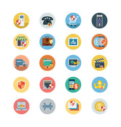 Security Flat Colored Icons 3 vector image