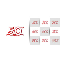 Set anniversary logo style with red outline vector