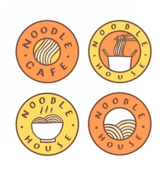 Set of food badges Noodle cafe noodles vector image