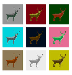 set of in flat style deer vector image