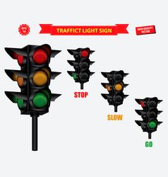 set of realistic traffic light vector image