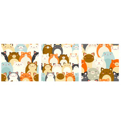 Set seamless patterns with cute cats vector