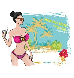 Sexy beach girl frame vector