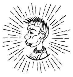 sketch head guy in profile vector image