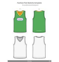 Sleeveless tank top fashion flat technical vector