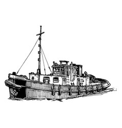 Small motor ship vector