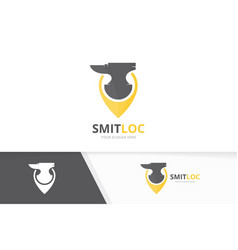 Smith and map pointer logo combination vector