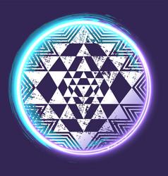 Sri yantra glowing symbol vector