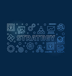 Strategy horizontal blue outline vector