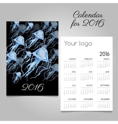 Stylish calendar with jellyfish for your needs vector image