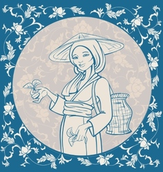 Tea picker vector