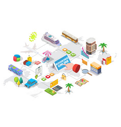 travel booking services isometric flowchart vector image