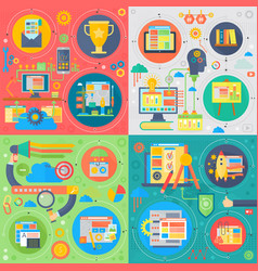 trendy flat design seo technology set of vector image