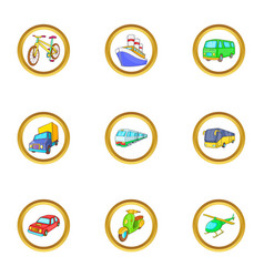 urban vehicle icons set cartoon style vector image