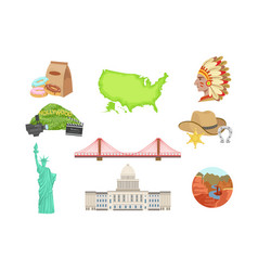 usa national symbols set of items isolated vector image