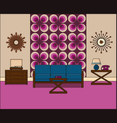 Vintage room interior in line art linear vector