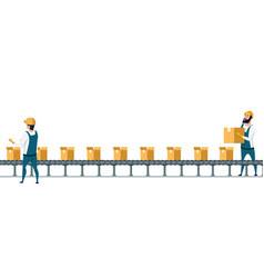 warehouse packing conveyor belt under control vector image