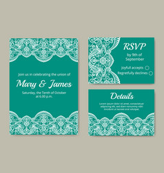 Wedding cards set vector