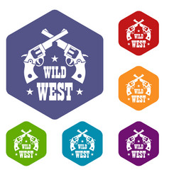 wild west revolver icons hexahedron vector image