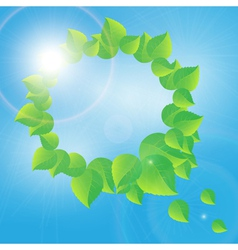 wreath of green leaves on a sunny sky background vector image