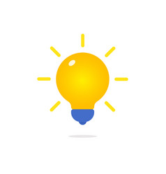 yellow lamp with rays icon in flat style creative vector image