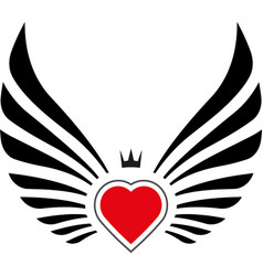 abstract decor with wings and heart vector image