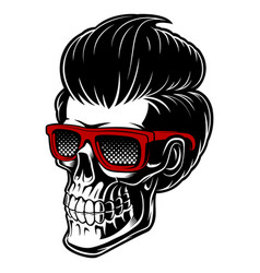 barber skull with fashion hair vector image vector image