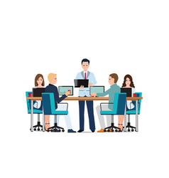 business man presenting with laptop computer vector image vector image