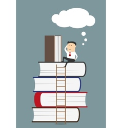 Businessman sitting and reading books vector image