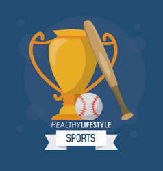 colorful poster of healthy lifestyle sports with vector image vector image