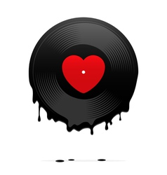 Melted vinyl record with heart vector image