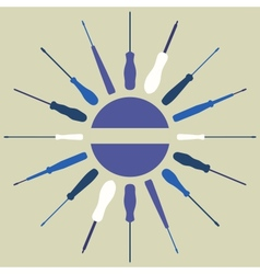 Screwdrivers silhouettes round frame vector image vector image