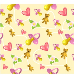 Seamless baby pattern with pacifier heart teddy vector image vector image