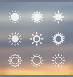 sun signs icons vector image vector image
