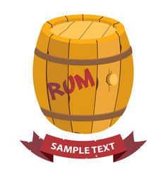 wooden barrel of rum with ribbon banner on the vector image vector image