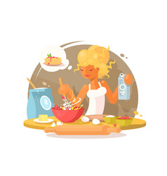 young blonde woman prepares meal vector image