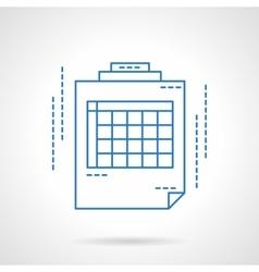 Blue flat line spreadsheet icon vector image
