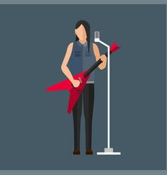 cartoon musician play on sound modern guitar and vector image