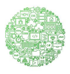 coding line icon circle design vector image vector image