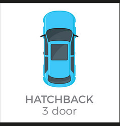 five doors hatchback top view flat icon vector image vector image