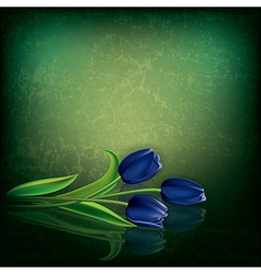 abstract green grunge background with blue tulips vector image