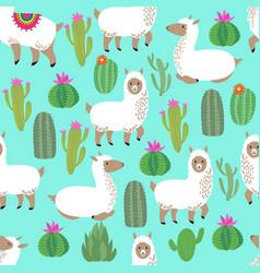 alpaca seamless pattern cute llama baby vector image