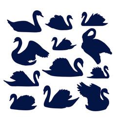 Swan silhouette set vector