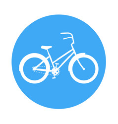 bicycle icon in the style of a road sign blue vector image vector image