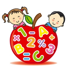 Children with an apple that contains numbers and l vector image vector image