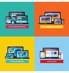 concepts of web design SEO social media marketing vector image vector image